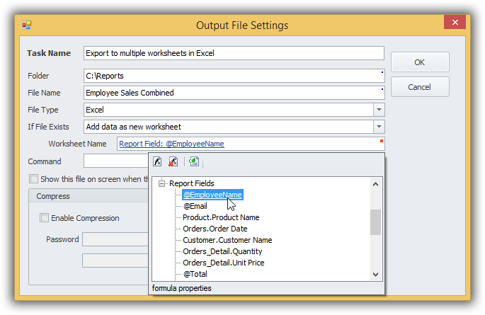 Excel export to multiple worksheets